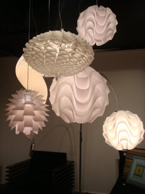 A selection of pendant lamps at Nuevo.  High Point Market 2011 by Diana Budds