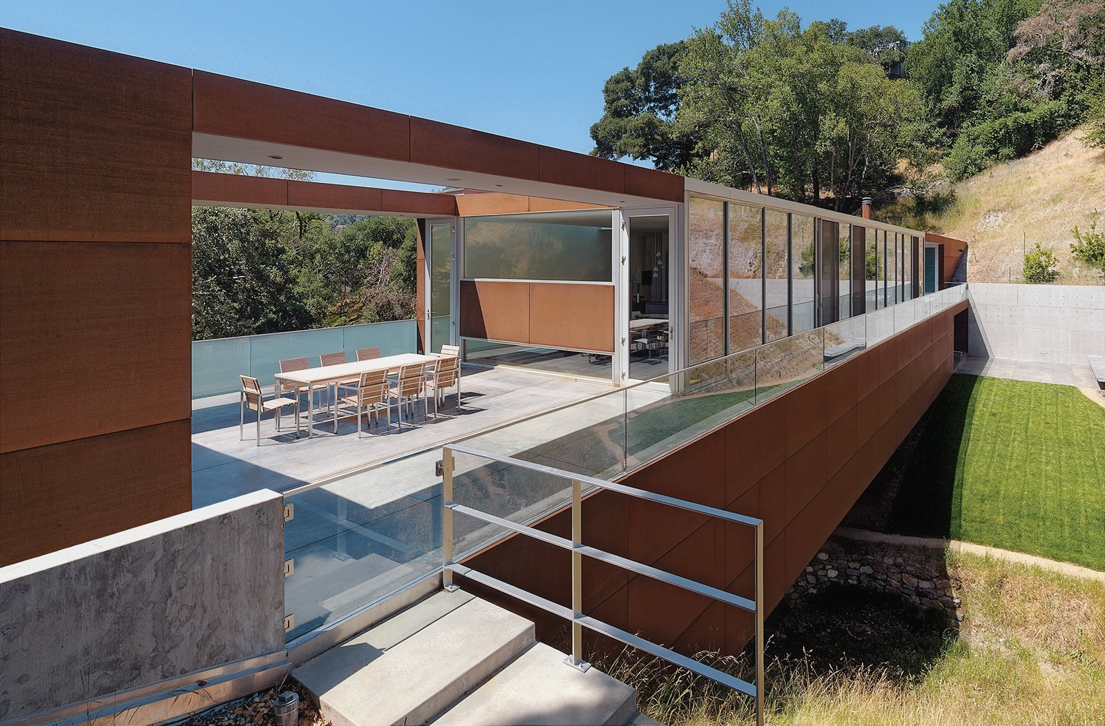 Stanley Saitowitz's Bridge House was built atop a challenging parcel. The rectangular structure spans a small valley created by a creek.  Photo 2 of 3 in Marin Home Tours 2011