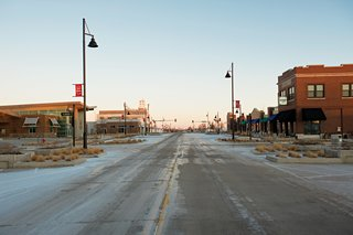 """Main Street, Greensburg, Kansas, nearly four years after the tornado. """"The town is a living green science museum,"""" says Greensburg GreenTown cofounder Daniel Wallach. """"It's not theoretical; it's something people can tough, feel, and see in action."""""""