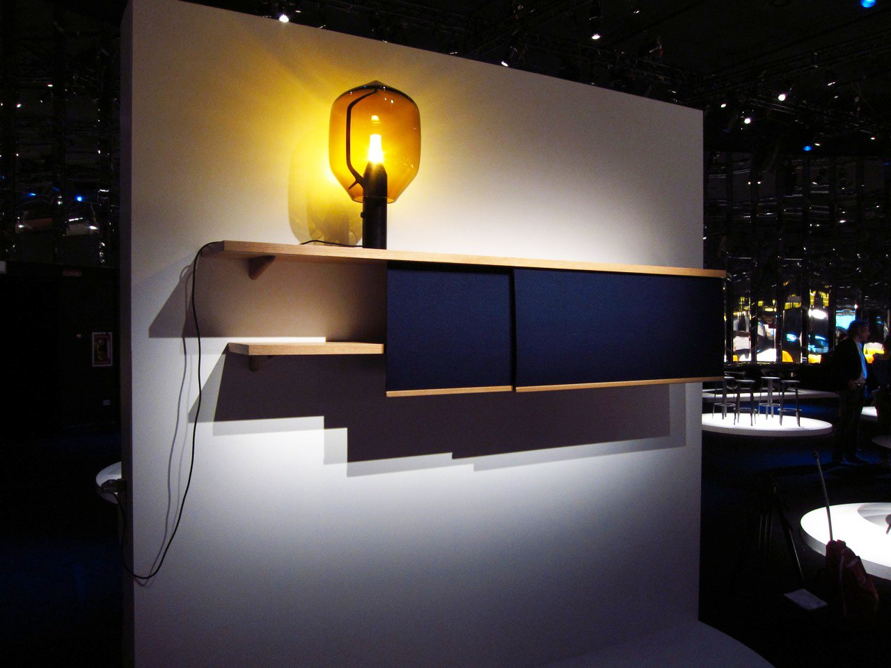 Les frères Bouroullec debuted a new set of shelves with sliding felt panels. Last year's lighthouse lamp (one of our all-time favorites) helped set the scene.  Milan 2011: Day One by Amanda Dameron