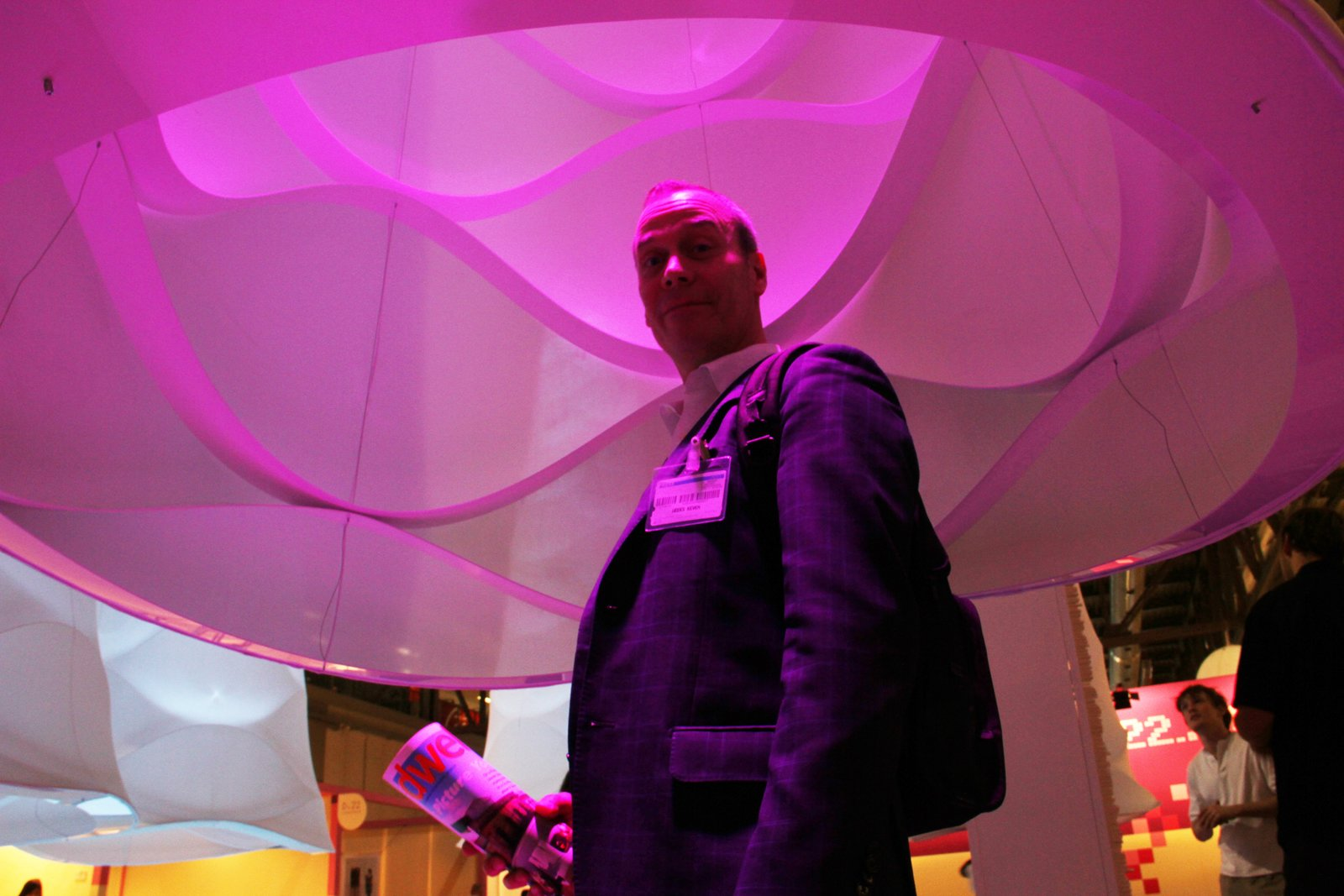 Always happy to be the design-related guinea pig, Dwell man-on-the-beat Keven Weeks sidles up inside an Ultra Gamma to soak up some chromotherapy. Onward to the next exhibition! Be sure to follow us on  Salone Satellite 2011 by Amanda Dameron