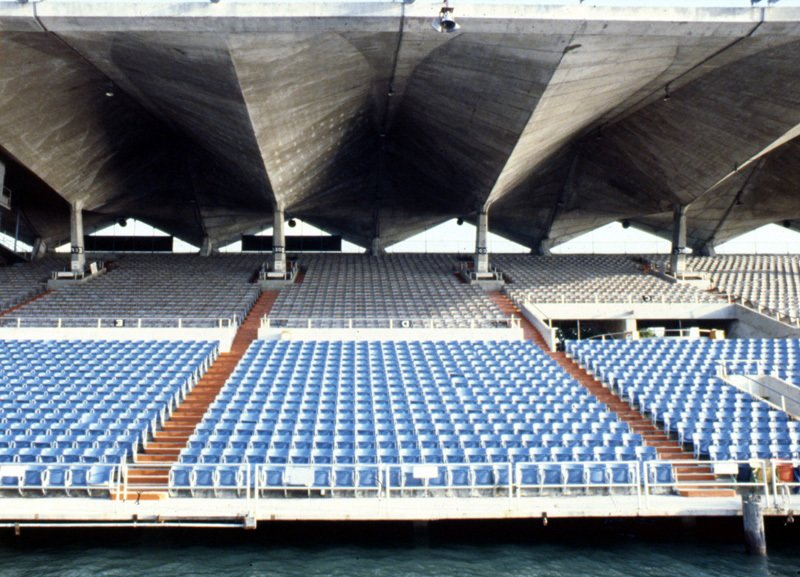 The grandstands in better days. Photo courtesy Friends of Miami Marine Stadium.  Preserving the Miami Marine Stadium by Rob Jordan