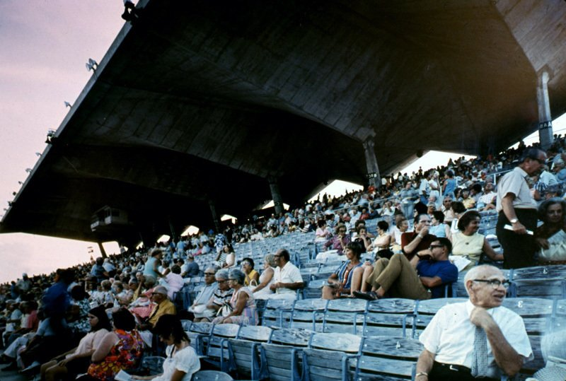 A late 1960s photograph shows fans watching an event from the grandstands. Photo courtesy Friends of Miami Marine Stadium.  Preserving the Miami Marine Stadium by Rob Jordan