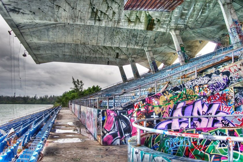 Vandals have had their way with the stadium in recent years. Photo courtesy Friends of Miami Marine Stadium.  Preserving the Miami Marine Stadium by Rob Jordan