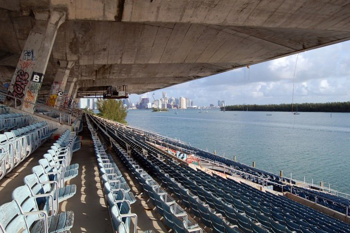 Just past the stadium's deep eaves is downtown Miami. Photo by Rick Bravo.  Preserving the Miami Marine Stadium by Rob Jordan