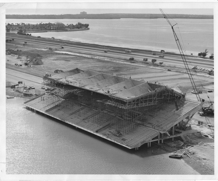 The stadium under construction in 1963. Photo courtesy Friends of Miami Marine Stadium.  Preserving the Miami Marine Stadium by Rob Jordan