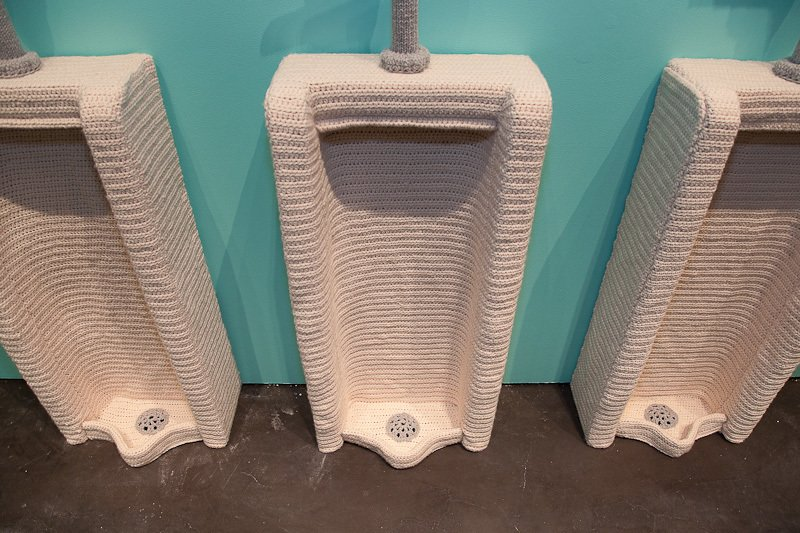 As does the the urinal, a design and shape one would never expect to see made from yarn.  Nathan Vincent's Locker Room by Bradford Shellhammer