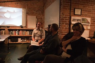 Halbrecht answers questions after screening the video. Photo by Søren Schaumburg.