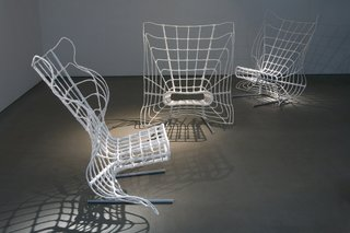 "Mesh by Tal Gur. ""Mesh is a web of metal wires that lie over a base of curved iron rods—a spider web of sorts. Polyurethane plastic bags have been twisted over the structure by heating and welding. The chair creates a sense of naturalness and organic form that has undergone contemporary adaptation and interpretation.""  Photo by Ohad Matalon.  Don't miss a word of Dwell! Download our  FREE app from iTunes, friend us on Facebook, or follow us on Twitter!"