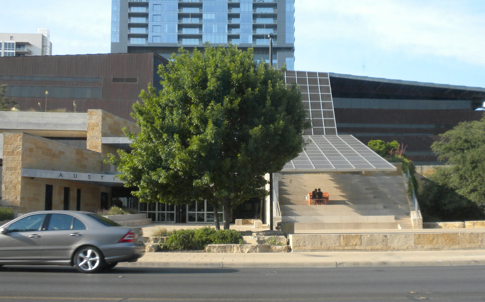 Though we didn't get a chance to stop, we did drive by Austin's City Hall, designed by Antoine Predock Architect PC, several times. In the summer, the exterior steps become auditorium seating for an afternoon concert series.  Three Days in Austin, Texas by Miyoko Ohtake