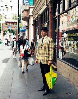 Our photographer Joao Canziani always has a knack for spotting colorful locals. Here's a portrait he took on the street of a man called Bruce Rook in Chinatown. Melbourne prides itself on a more eclectic, forward-looking sense of style than its beachy cousin Sydney.
