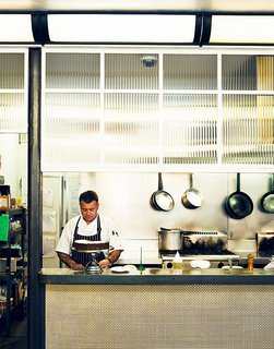 Upstairs from Journal Cafe is Journal Canteen, where the staff makes sure everything is in order. Designer Rabindra Naidroo took inspiration from 1930s Italian mess halls.