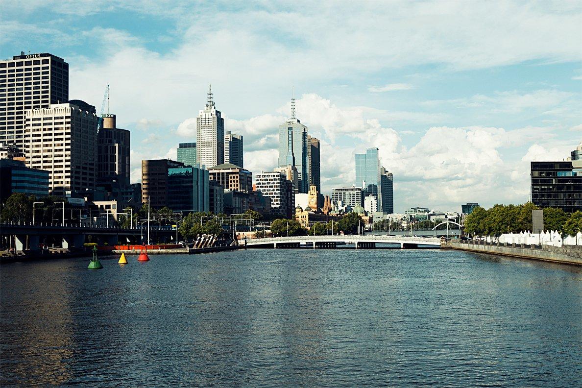 Views of Melbourne from Kingsway Bridge, looking east  Photo 23 of 24 in Exploring Melbourne, Australia
