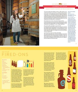 "As part of their research, Bostwick and Rymill took a six-week road trip across the U.S. They visited more than two dozen craft breweries, seven of which they feature in the book with brief interviews. Shown here (top spread) is Lauren Salazar, a sensory trainer and blender at the New Belgium Brewing Co. in Fort Collins, Colorado. The bottom spread shows pages from the Design chapter, another section that sets Beer Craft apart from other homebrewing books. Here, you'll learn how to create your own labels, caps, and more. ""If you spend hours making a cake, you might what to frost it or put it on a nice plate to make it look good,"" Rymill says. ""It's the same with your beer."""