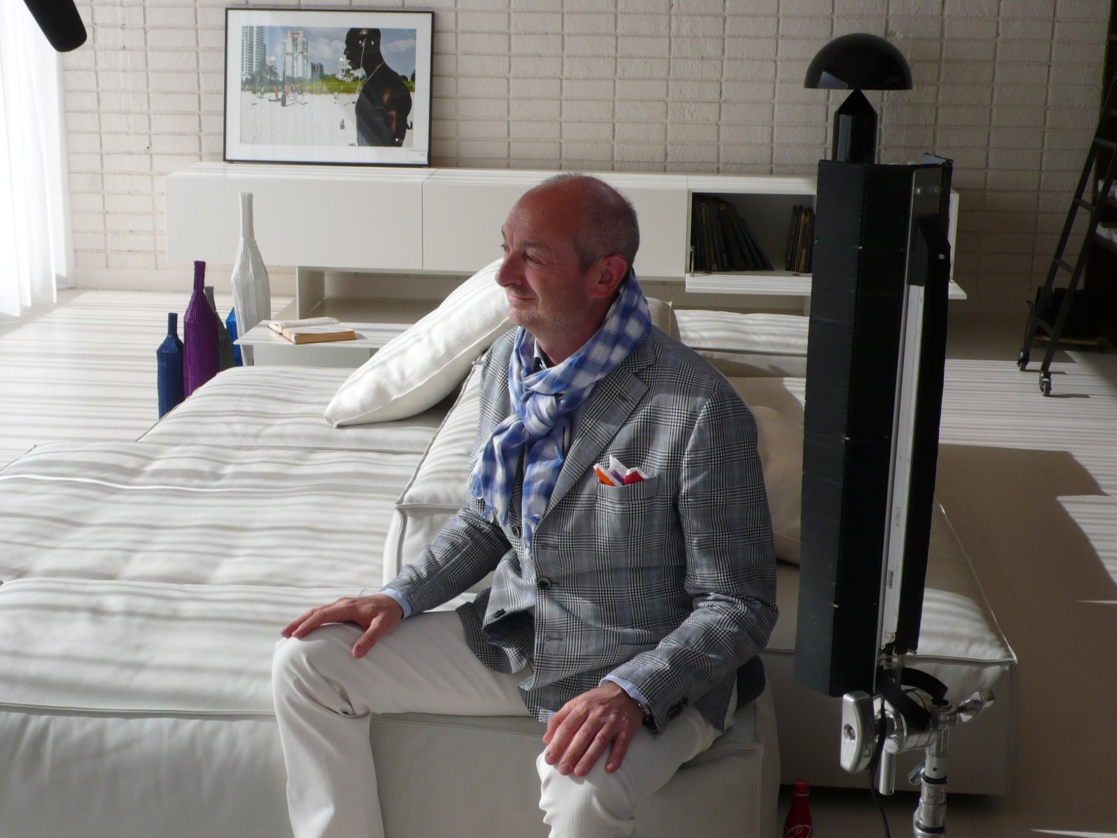 Lissoni is interviewed on his Extrasoft modular sofa in white, defined by its geometric configuration and irregular contours.  Photo 1 of 7 in 10 Minutes With Piero Lissoni