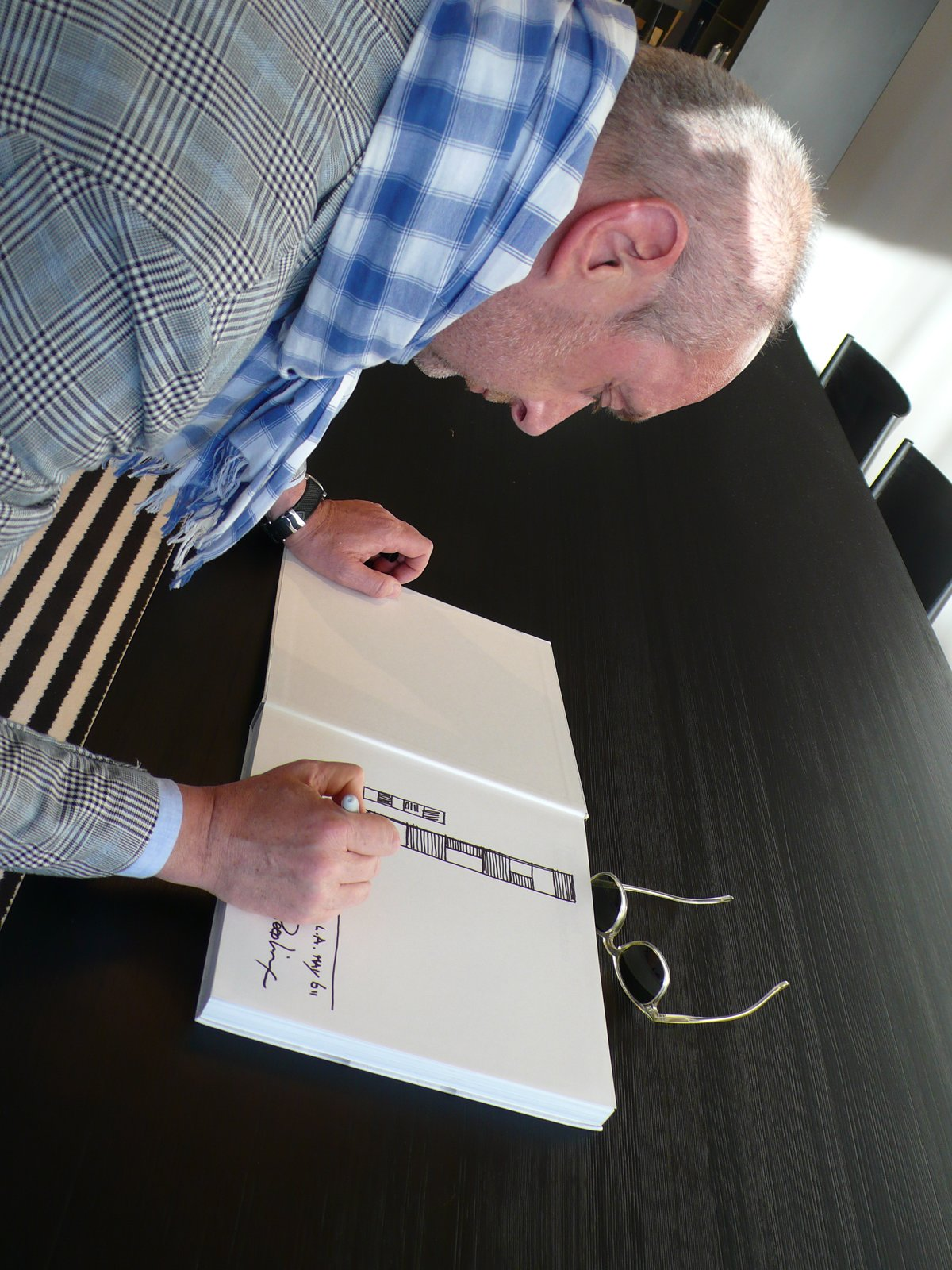 Lissoni created original drawings as a sort of signature in his new book, Piero Lissoni: Recent Architecture. (Here he sketches his new tower for a Benetton store in New York.)  Photo 6 of 7 in 10 Minutes With Piero Lissoni