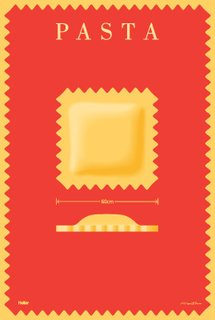 Glaser designed this poster as an introduction to Alan Heller's line of plastic, pasta-shaped pillows. The only clue that we are not talking about edible pasta is the measurement indicating that it is 60cm wide—mouthful even for ravioli lovers.