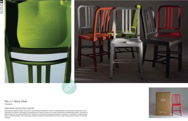 Emeco recently collaborated with the Coca-Cola Company to produce the 111 Navy Chair. Each chair is made with the recycled material from 111 plastic bottles. Watch our slideshow from our trip to the North Carolina factory where the chairs are made to see the process from start to finish.