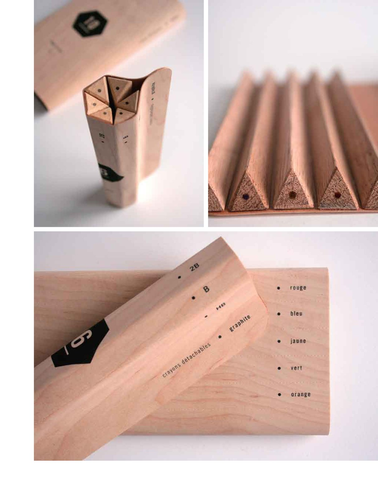 Maude Bussières's pencil packaging concept keeps extra materials to a minimum. The triangular pencils fold together in tight formation to be displayed in stores as is and then tear apart along the perforations when you're ready to use one.  Love Earth: Eco Ideas and Designs by Miyoko Ohtake