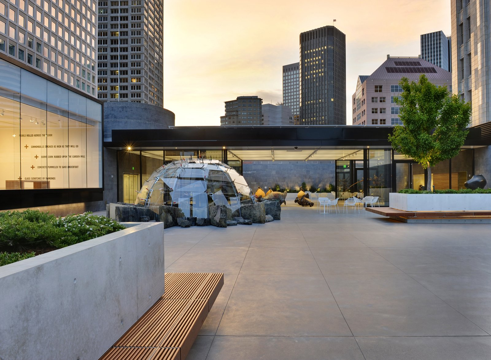 One of CMG's most recent and most publicly beloved projects is the rooftop sculpture garden at the San Francisco Museum of Modern Art, which they designed together with Jensen Architects. Their integrated planter-benches and volcanic rock walls frame an outdoor gallery peppered with large-scale works by the likes of Ellsworth Kelly and Louise Bourgeois.  Photo 1 of 13 in CMG Landscape Architecture
