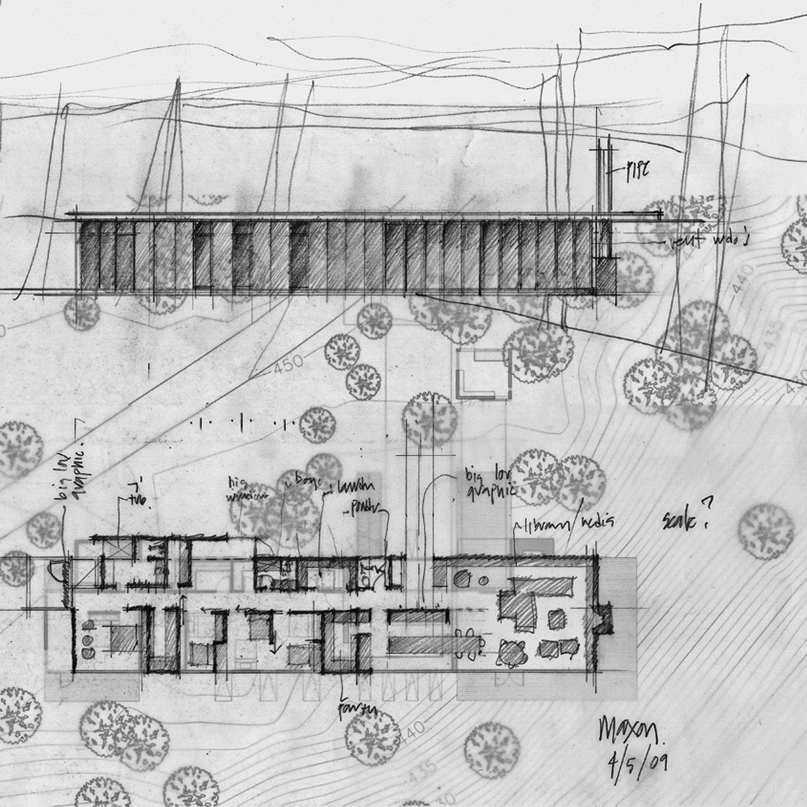 A site drawing of the Maxon House in Carnation, Washington. The new kinetic studio will detach from the main home.  Photo 1 of 7 in Building the Maxon House: Week 15