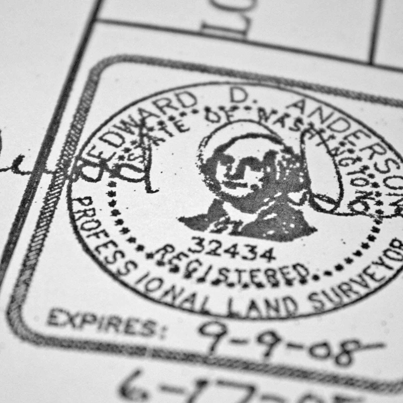 The official stamp of our surveyor, Mead Gilman Associates. Nothing is official until its signed, stamped, sealed and delivered.  Photo 9 of 12 in Construction Diary: Building a Forest Haven With Olson Kundig Architects (Part Two) from Building the Maxon House: Week 15