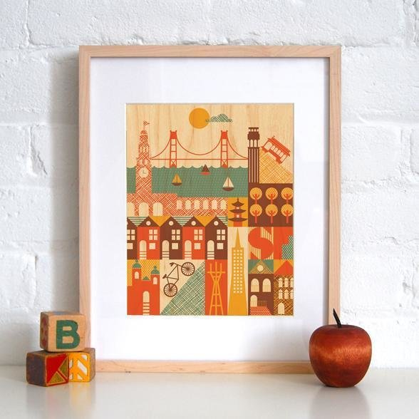 """This print of San Francisco landmarks on maple by Petit Collage also came home with me.  Search """"stockholm landmarks architectural print"""" from Roaming through Renegade"""
