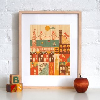 This print of San Francisco landmarks on maple by Petit Collage also came home with me.