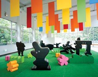 Fuwa-Fuwa sculptures mimic fun-loving shadows at the   Hakone Open-Air Museum.