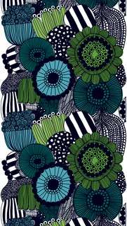 In 2009 she designed this Siirtolapuutarha pattern, which has been put to many applications. The textile is meant to tell the story of the growth of flower and vegetable beds in Finland's urban areas.