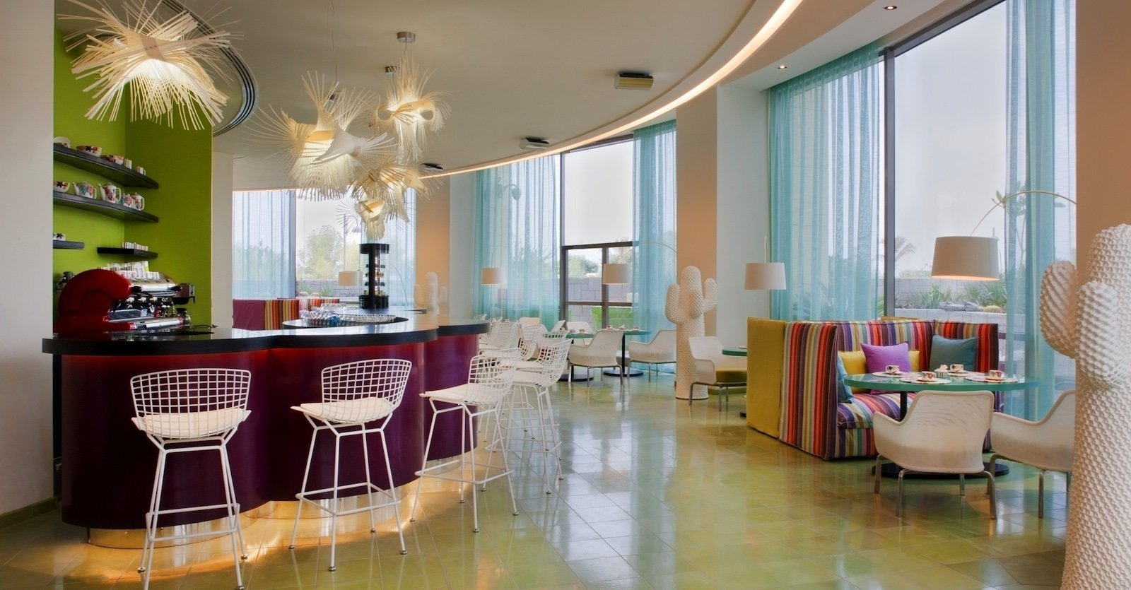 The Choco Bar offers Kuwait a chance to sample two of the best Italian delicacies: chocolate and coffee. The white floor lamps are Marc Saddler Twiggy lamps. The barstools are Bertoia wire chairs. Photo by Gerry O'Leary.  Office from Hotel Missoni Kuwait