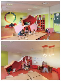 Die Baupiloten also designed the Familienservice School in Berlin, located in a converted floor of an office building. In this play space, bookshelves, reading nooks, and other stackable polygons can be piled in a multitude of formations so that the learning landscape is ever-changing.