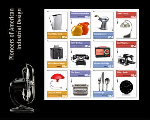 A selection of stamps commemorating the Pioneers of American Industrial Design.  Photo 1 of 3 in IBM Selectric Turns 50