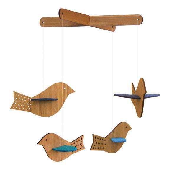 Deluxe Bird Blue Mobile, $66.  Photo 4 of 7 in New From Petit Collage
