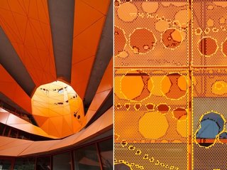Two close-ups of the Orange Cube.