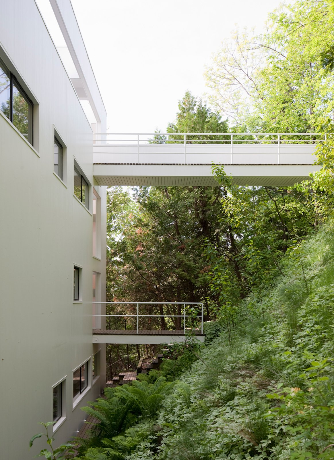 There are two walkways that extend over the sloping hillside. The top-most walkway is the intended entrance.  Photo 12 of 22 in This Lake House Is a Living Piece of Architecture History