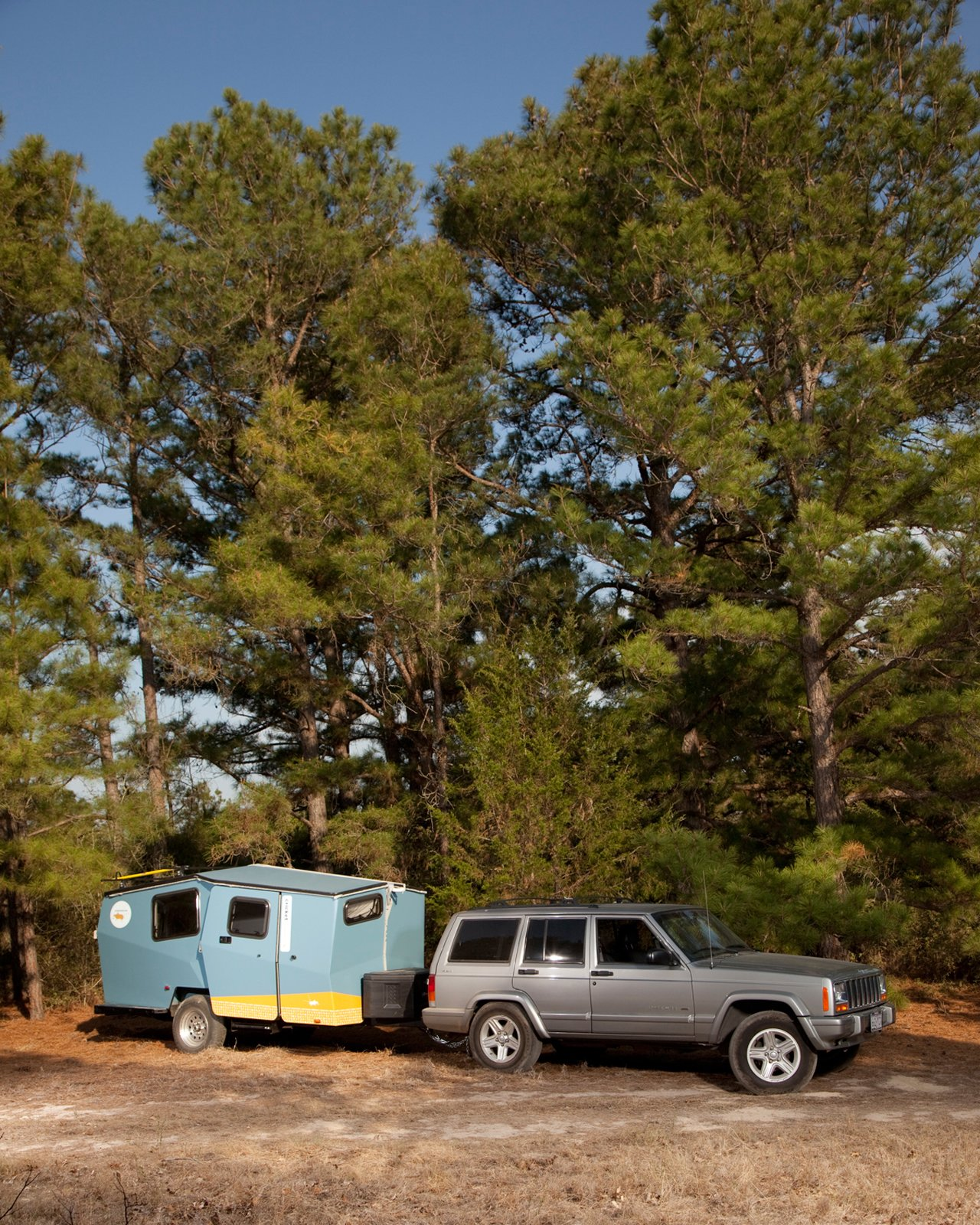 "The Cricket was easy to move throughout the 9E Ranch property. Finney designed the camper so that a car as small as a Subaru Outback can haul it around. ""The hope is that you already own your towing vehicle,"" he says.  Photo 14 of 15 in Modern NASA-Inspired Cricket Trailer"