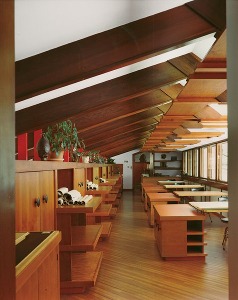 The drafting room is austere, though well lit and full of impressive joinery.  Photo by: Balthazar Korab  Mid Modern by Jonathan Simcoe from Hometown Hero