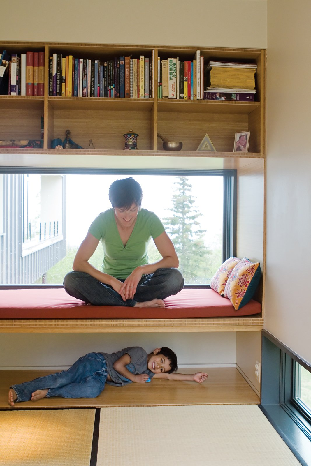The meditation room has a low narrow window overlooking a birch grove. The tatami mats are from the website orientalfurniture.com.  Photo 4 of 10 in An Epic Plot
