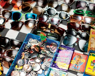 A colorful array of sunglasses.
