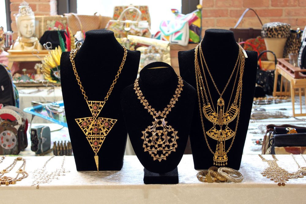 Statement necklaces like these elaborate examples from seller Shop NOV (Adrienne Baskin) were a big seller at the May TVB.   Photo by   Felix Jung  Photo 3 of 10 in More Finds from The Vintage Bazaar