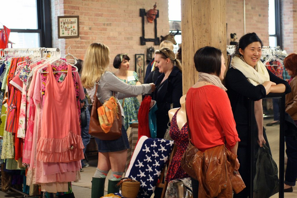 Vintage clothing and accessories vendors are abundant at the Bazaar, like Nicole Hughes' Bombshellshocked booth where gals congregated to pick from her retro threads and have a few laughs.   Photo by   Steven Pate  Photo 8 of 10 in More Finds from The Vintage Bazaar