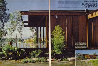This old brochure for the Concept Houses describes their factory construction, cost of transportation (70 cents per mile per module), and argues in favor of doing away with all that messy site construction of stick-built houses.