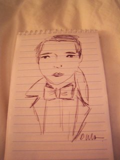 I finished my day back at SCP for a quick chat with Donna Wilson, who was as charming as can be. But better than anything I scrawled in my notebook from our chat was this drawing she made of me. The likeness is so-so (I'm 30, not 13), but the bow tie is spot-on.  Don't miss a word of Dwell! Download our  FREE app from iTunes, friend us on Facebook, or follow us on Twitter!