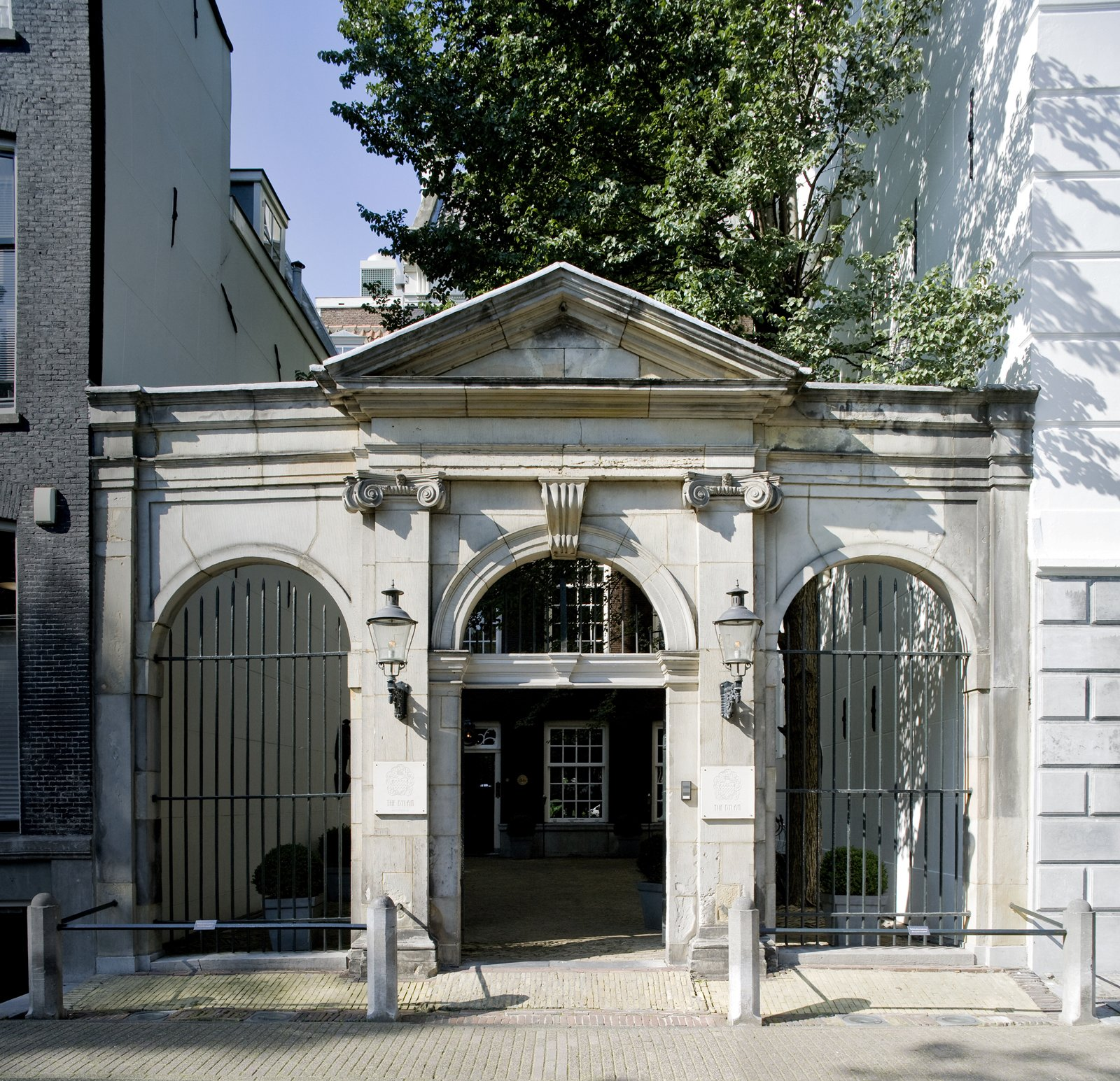 This is the hotel's front entrance, and the property's most historic architectural relic. A stone theater built in 1637 by the architect Jacob van Campen once stood here. It was a famous theater, visited by celebrities and crowned heads of that era. In 1737, Vivaldi conducted a concert there for the theater's 100-year anniversary. But the place burned down in 1772 during a performance by a Flemish operetta company. A tin full of candle wax caught fire and set the side-scenes alight. Only the hotel's present-day doorway (pictured here) and the hall where the landlord lived, where guests now check in, were spared.  The Dylan, Amsterdam by Jaime Gillin