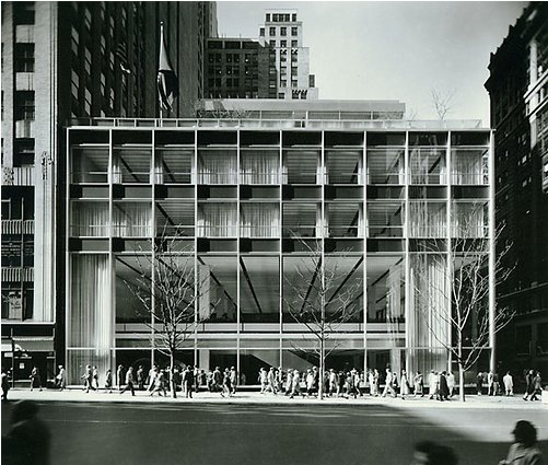 The Manufacturers Hanover Trust Building (shown here in 1954) is located at 43rd Street and Fifth Ave. in New York City. The open steel-and-glass facade is considered a model of Modernist design.  Photo 1 of 11 in Friday Finds 10.07.11