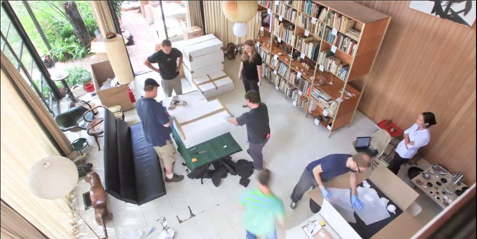 A still from the time lapse video of the Eames living room being packed up and moved.  Photo 4 of 11 in Friday Finds 10.07.11