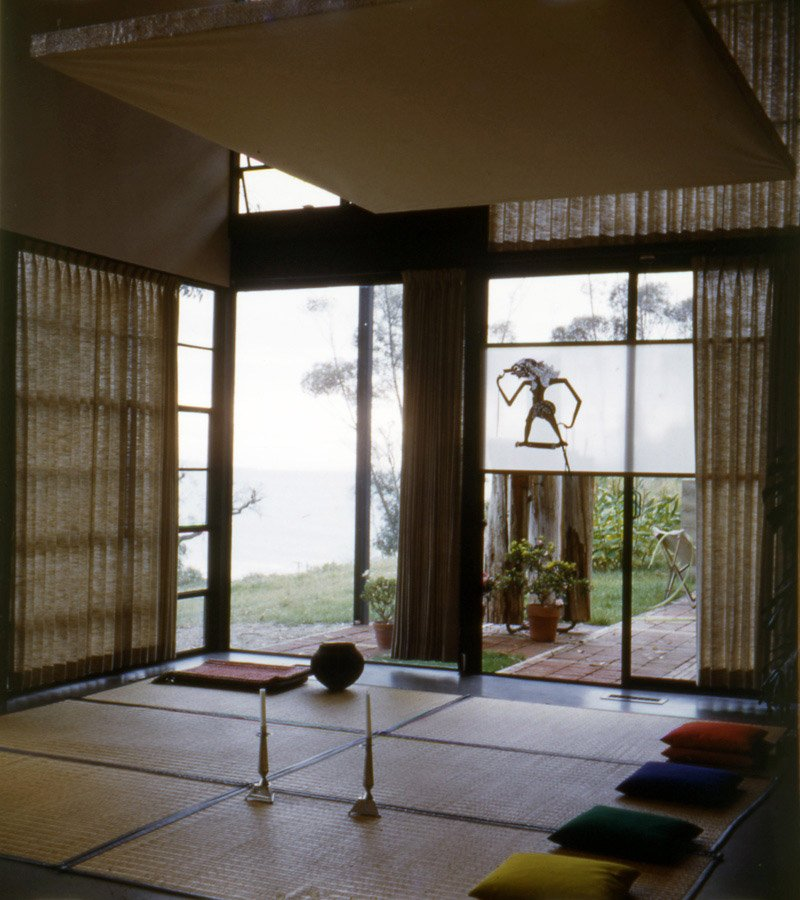 Another shot from 1950 shows more goza mats and pillows for seating guests. The ocean can be seen beyond the corner window; it is now more obscured by trees. Photo courtesy the Eames Foundation.  Photo 2 of 3 in 10 Inspiring Quotes from the Eames Family
