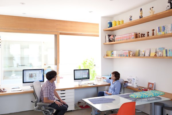 The pair of desks that Paul and Shoko work at in the office space look directly onto the courtyard. The concept for the design was to be able to see the sky from your seat at the desk.  Office from Looking Inward