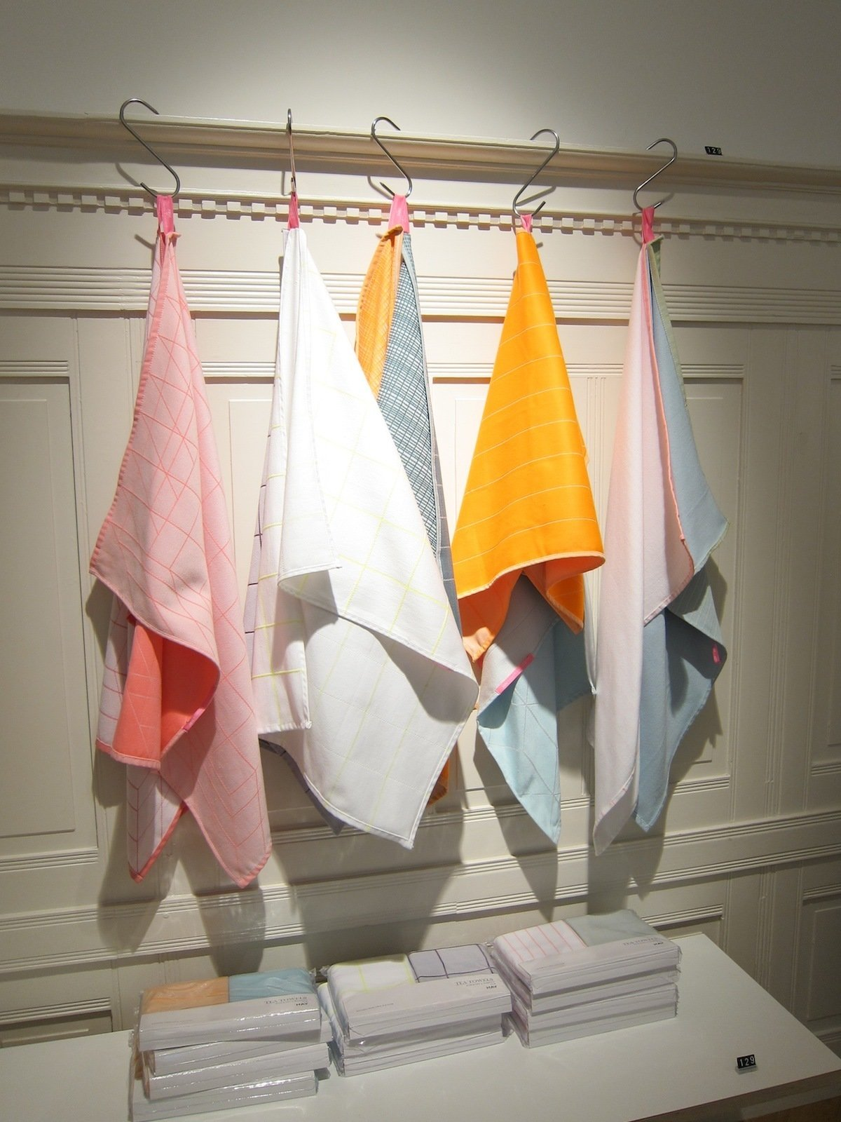 I bought my friend a set of these bright and graphic dishtowels, designed by the Dutch duo Scholten & Baijings.  A Visit to HAY Copenhagen by Jaime Gillin